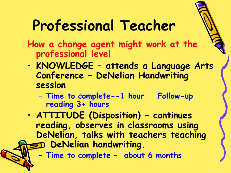 Professional Teacher How a change agent might work at the professional level: KNOWLEDGE – attends a Language Arts Conference – DeNelian Handwriting se