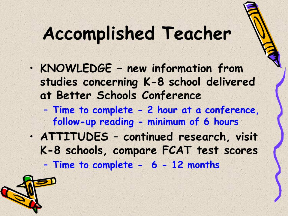 Accomplished Teacher KNOWLEDGE – new information from studies concerning K-8 school delivered at Better Schools Conference –Time to complete - 2 hour