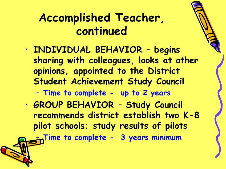 Accomplished Teacher, continued INDIVIDUAL BEHAVIOR – begins sharing with colleagues, looks at other opinions, appointed to the District Student Achie