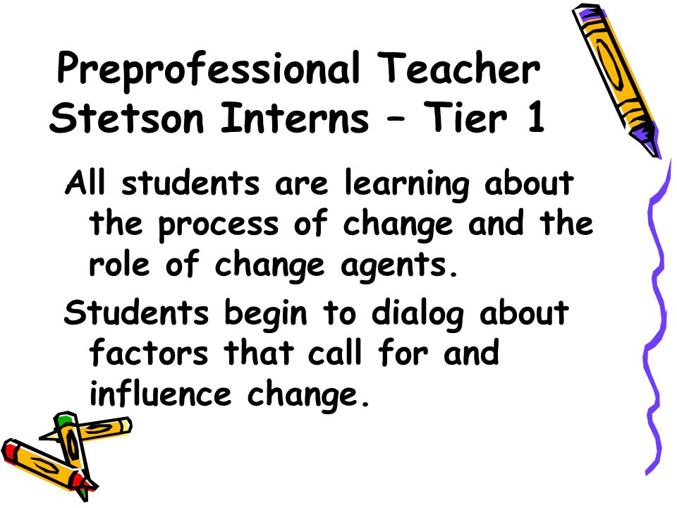 Preprofessional Teacher Stetson Interns – Tier 1 All students are learning about the process of change and the role of change agents. Students begin t