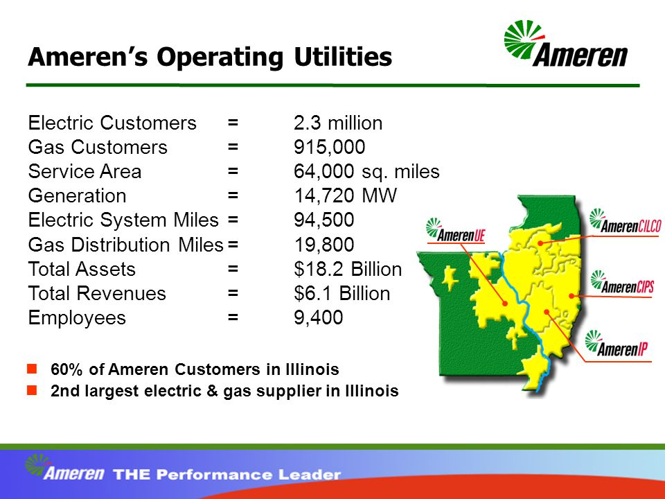 Ameren's Operating Utilities Electric Customers=2.3 million Gas Customers=915,000 Service Area=64,000 sq.