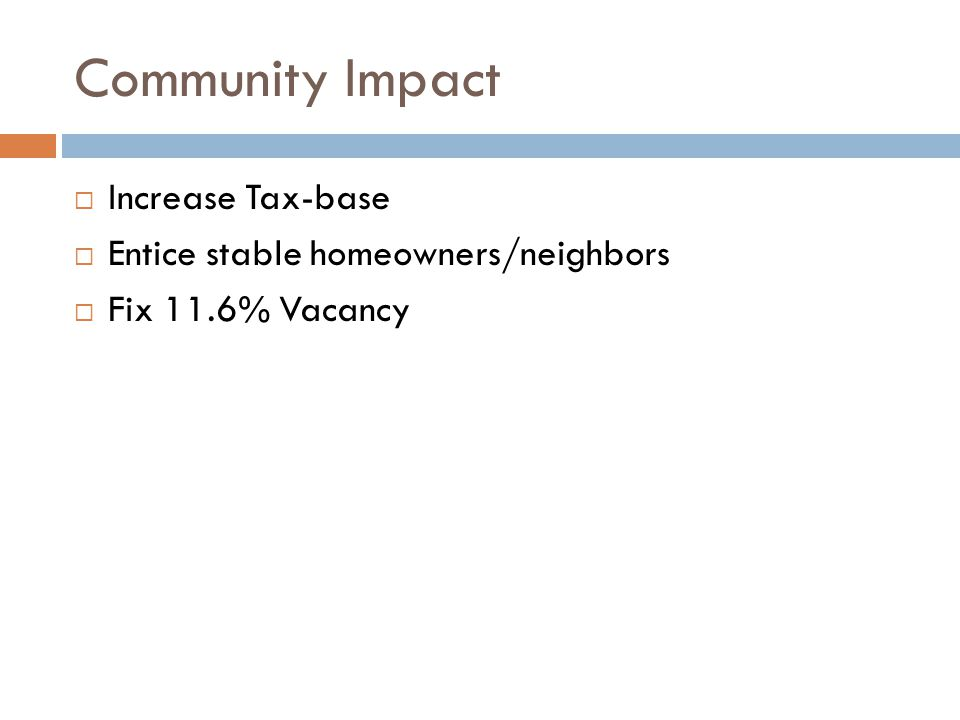 Community Impact  Increase Tax-base  Entice stable homeowners/neighbors  Fix 11.6% Vacancy