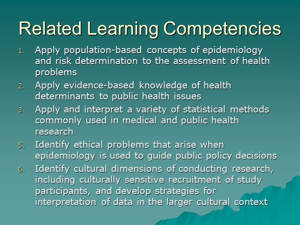 Related Learning Competencies 1. Apply population-based concepts of epidemiology and risk determination to the assessment of health problems 2. Apply