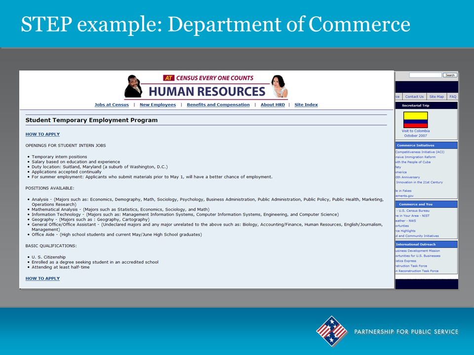 STEP example: Department of Commerce