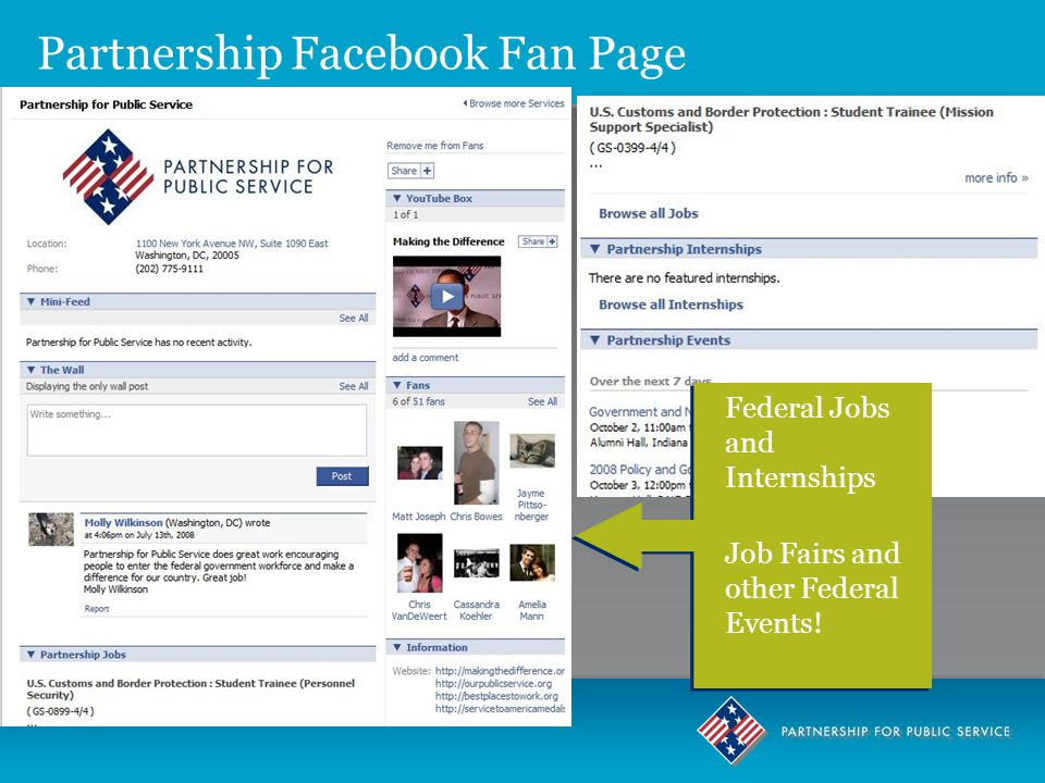 Partnership Facebook Fan Page Federal Jobs and Internships Job Fairs and other Federal Events.