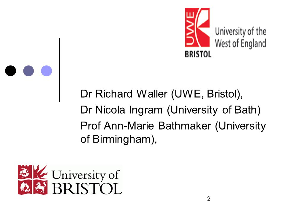 Dr Richard Waller (UWE, Bristol), Dr Nicola Ingram (University of Bath) Prof Ann-Marie Bathmaker (University of Birmingham), 2