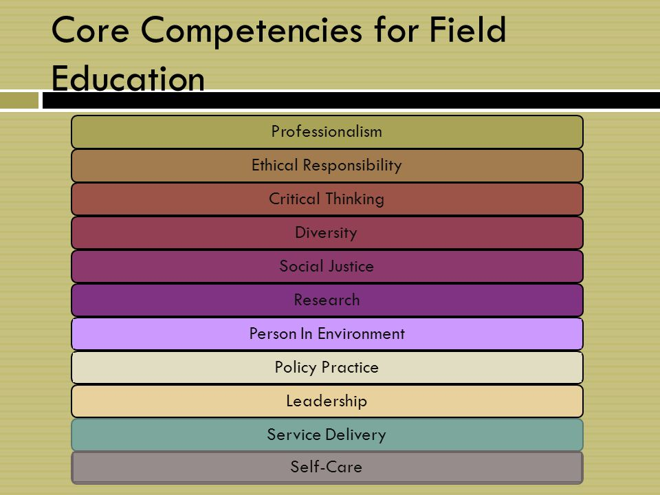 Core Competencies for Field Education ProfessionalismEthical ResponsibilityCritical ThinkingDiversity Social Justice Research Person In EnvironmentPolicy Practice LeadershipService Delivery Self-Care