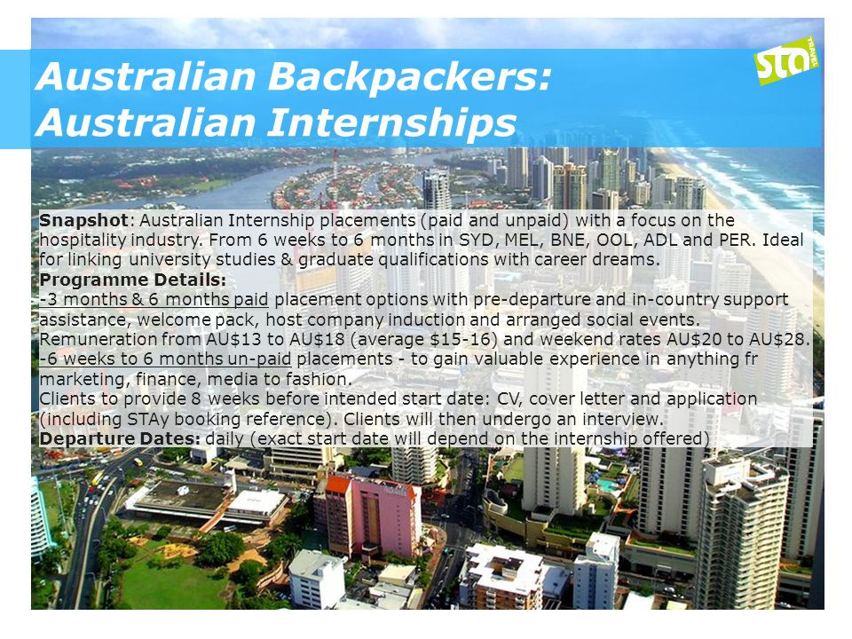 Australian Backpackers: Australian Internships Snapshot: Australian Internship placements (paid and unpaid) with a focus on the hospitality industry.