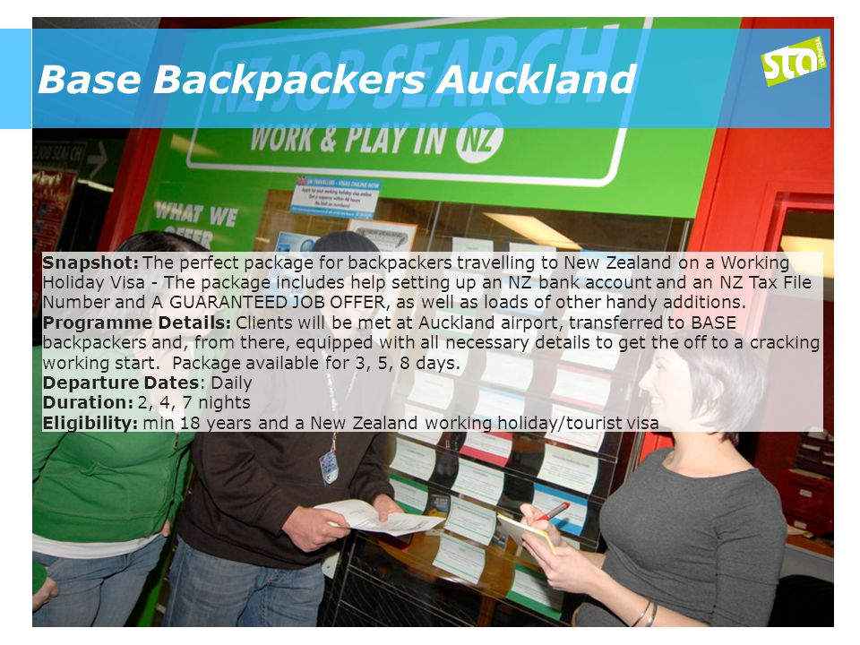 Base Backpackers Auckland Snapshot: The perfect package for backpackers travelling to New Zealand on a Working Holiday Visa - The package includes help setting up an NZ bank account and an NZ Tax File Number and A GUARANTEED JOB OFFER, as well as loads of other handy additions.