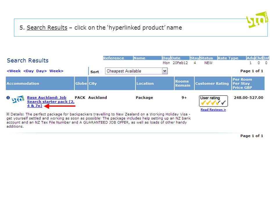 5. Search Results – click on the 'hyperlinked product' name