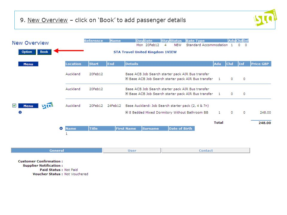 9. New Overview – click on 'Book' to add passenger details