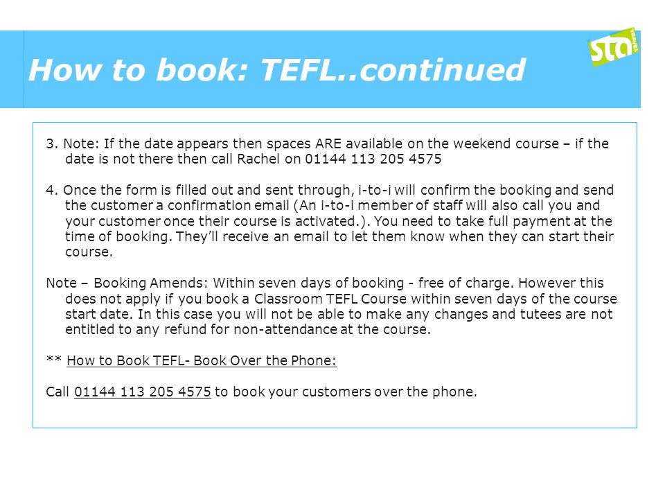 How to book: TEFL..continued 3.