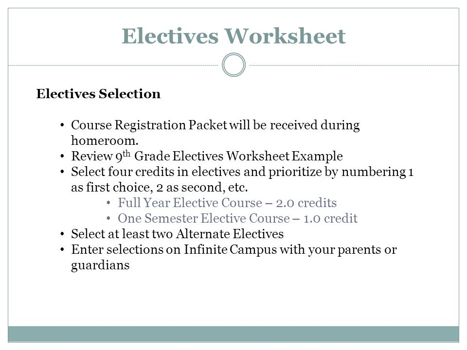 Electives Worksheet Electives Selection Course Registration Packet will be received during homeroom.