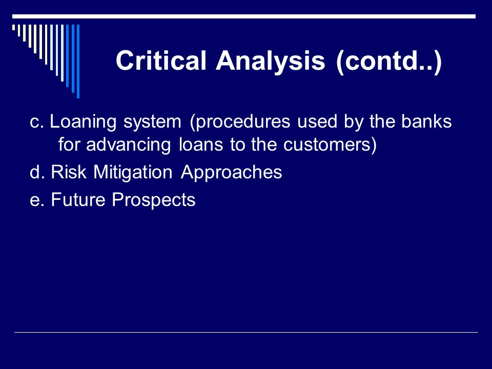 Critical Analysis (contd..) c. Loaning system (procedures used by the banks for advancing loans to the customers) d. Risk Mitigation Approaches e. Fut