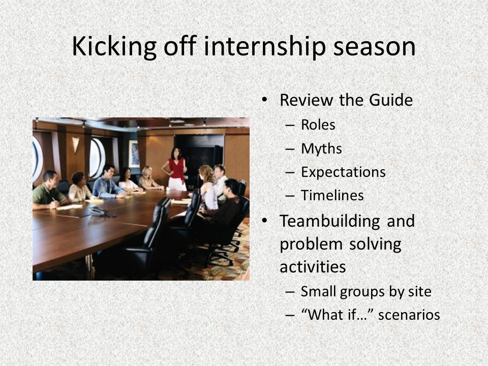 Kicking off internship season Review the Guide – Roles – Myths – Expectations – Timelines Teambuilding and problem solving activities – Small groups by site – What if… scenarios