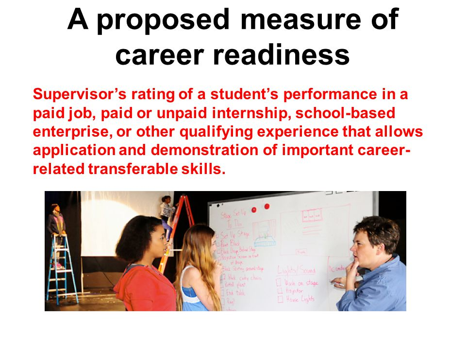 A proposed measure of career readiness Supervisor's rating of a student's performance in a paid job, paid or unpaid internship, school-based enterprise, or other qualifying experience that allows application and demonstration of important career- related transferable skills.