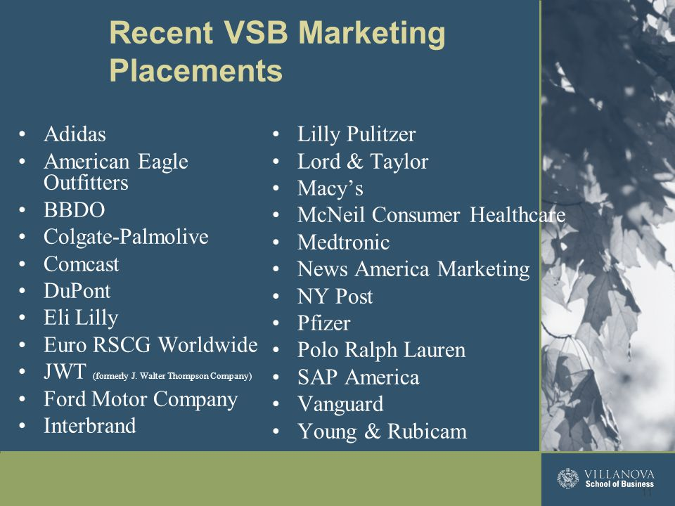 Adidas American Eagle Outfitters BBDO Colgate-Palmolive Comcast DuPont Eli Lilly Euro RSCG Worldwide JWT (formerly J.