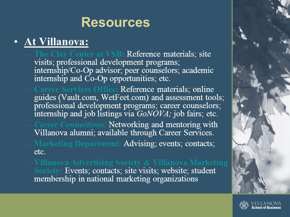 At Villanova: –The Clay Center at VSB: Reference materials; site visits; professional development programs; internship/Co-Op advisor; peer counselors;