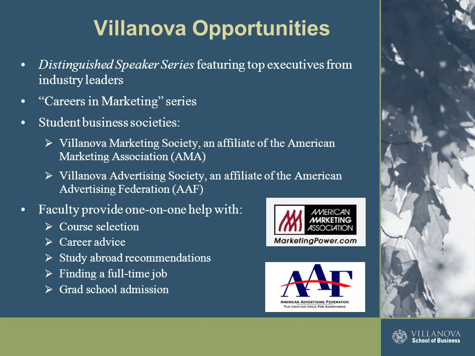 "Villanova Opportunities Distinguished Speaker Series featuring top executives from industry leaders ""Careers in Marketing"" series Student business soc"