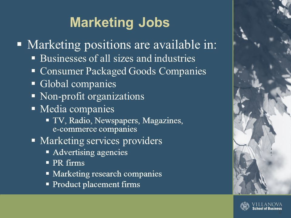  Marketing positions are available in:  Businesses of all sizes and industries  Consumer Packaged Goods Companies  Global companies  Non-profit o