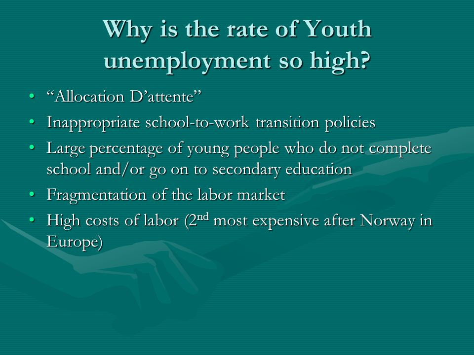 """Why is the rate of Youth unemployment so high? """"Allocation D'attente""""""""Allocation D'attente"""" Inappropriate school-to-work transition policiesInappropri"""
