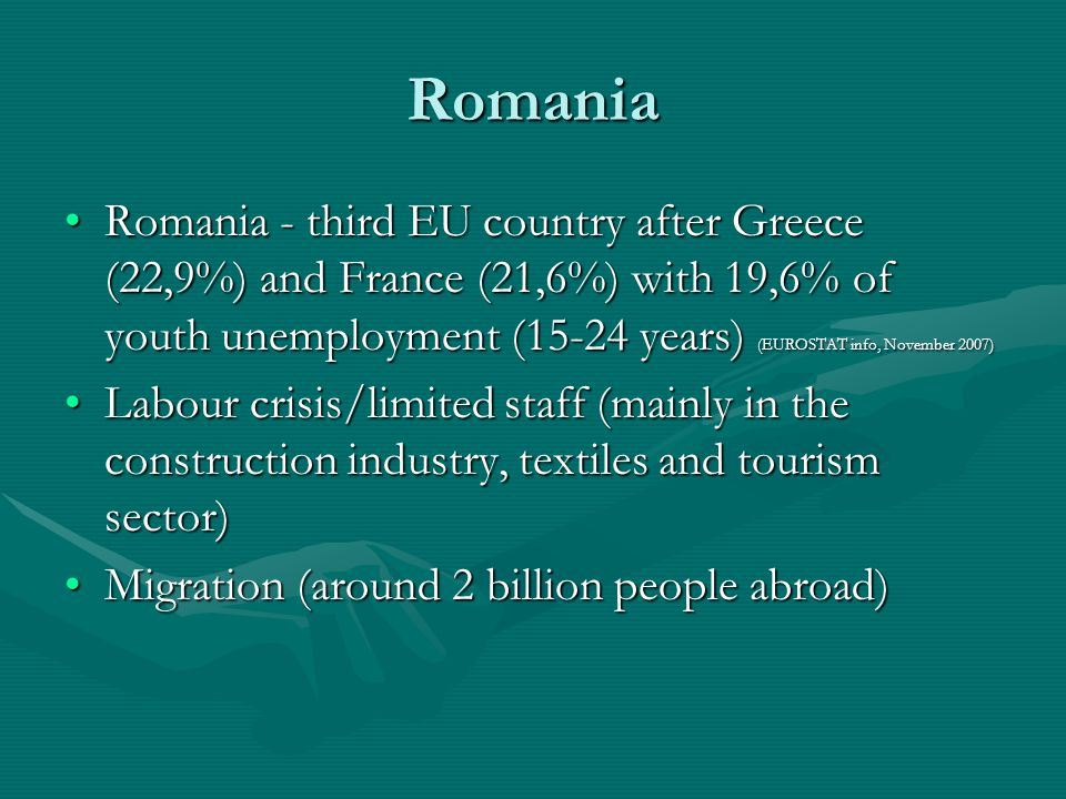 Romania Romania - third EU country after Greece (22,9%) and France (21,6%) with 19,6% of youth unemployment (15-24 years) (EUROSTAT info, November 2007)Romania - third EU country after Greece (22,9%) and France (21,6%) with 19,6% of youth unemployment (15-24 years) (EUROSTAT info, November 2007) Labour crisis/limited staff (mainly in the construction industry, textiles and tourism sector)Labour crisis/limited staff (mainly in the construction industry, textiles and tourism sector) Migration (around 2 billion people abroad)Migration (around 2 billion people abroad)