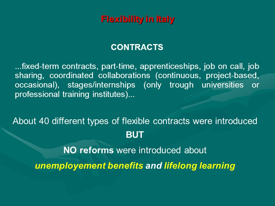 About 40 different types of flexible contracts were introduced BUT NO reforms were introduced about unemployement benefits and lifelong learning CONTR