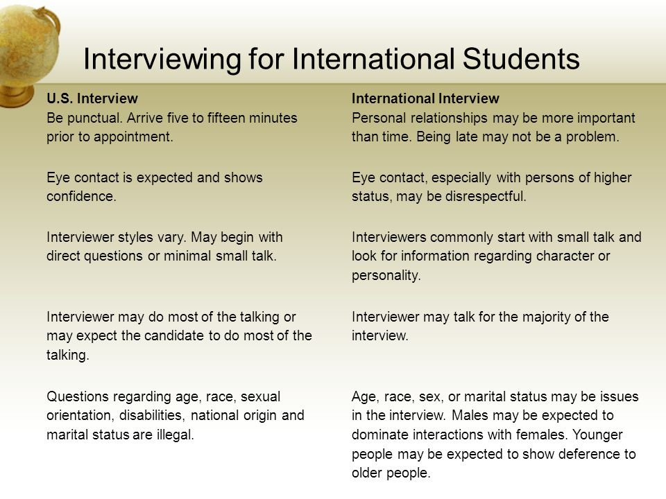 Interviewing for International Students U.S. InterviewInternational Interview Be punctual. Arrive five to fifteen minutes prior to appointment. Person
