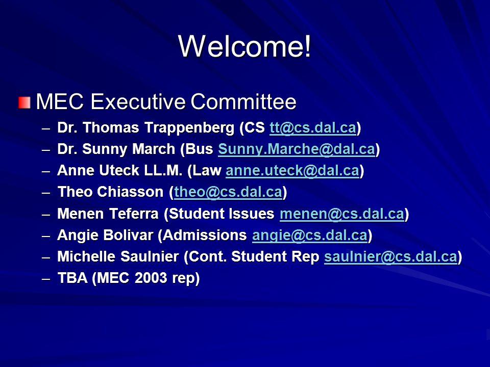Welcome! MEC Executive Committee –Dr. Thomas Trappenberg (CS tt@cs.dal.ca) tt@cs.dal.ca –Dr. Sunny March (Bus Sunny.Marche@dal.ca) Sunny.Marche@dal.ca