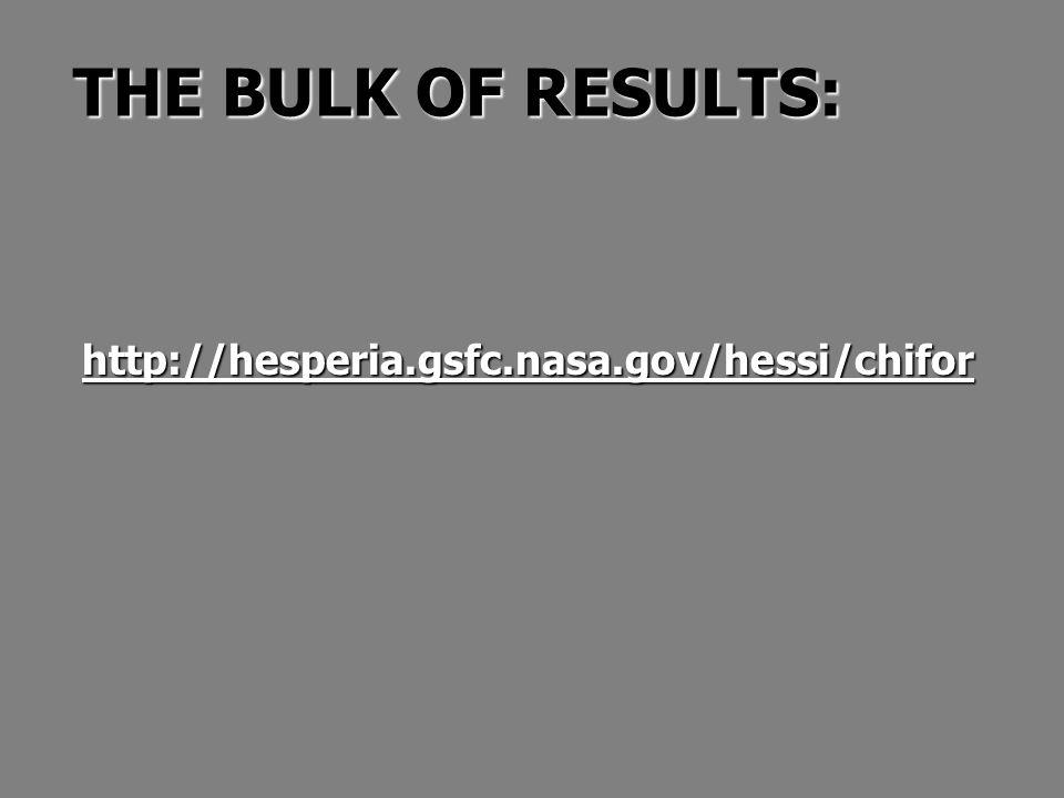 THE BULK OF RESULTS: http://hesperia.gsfc.nasa.gov/hessi/chifor