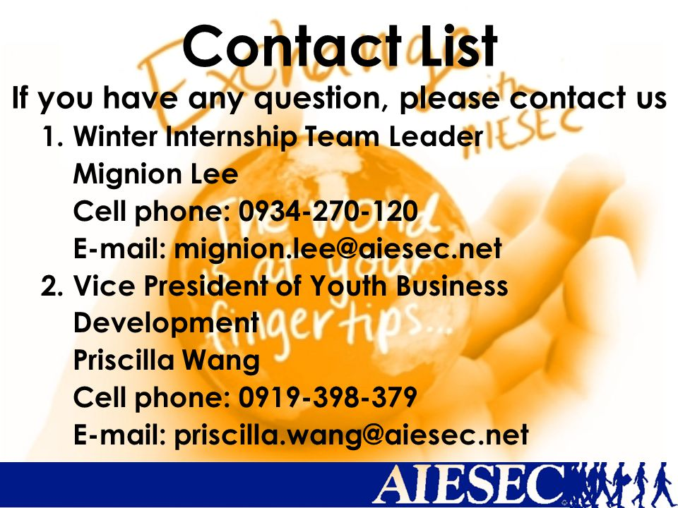 Contact List If you have any question, please contact us 1.