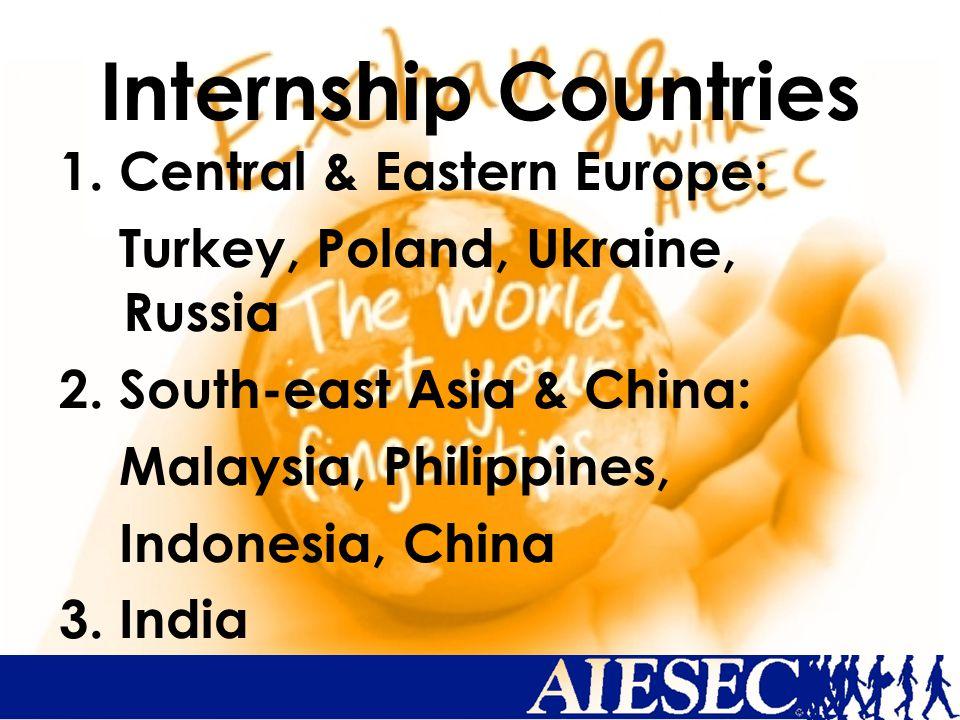 Internship Countries 1.Central & Eastern Europe: Turkey, Poland, Ukraine, Russia 2.