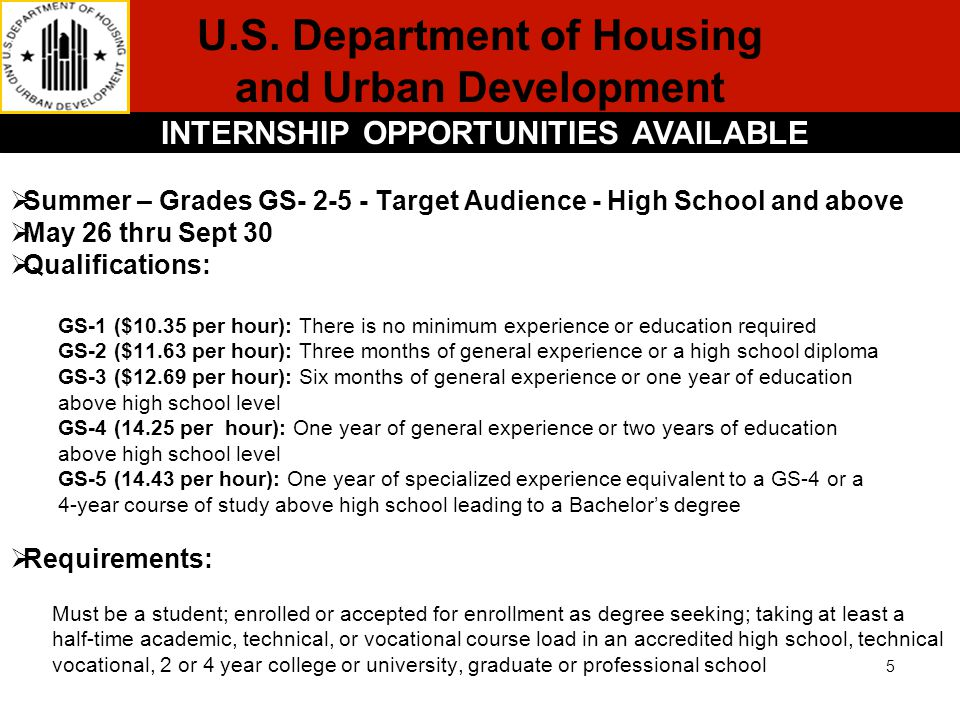 U.S. Department of Housing and Urban Development INTERNSHIP OPPORTUNITIES AVAILABLE  Summer – Grades GS- 2-5 - Target Audience - High School and abov