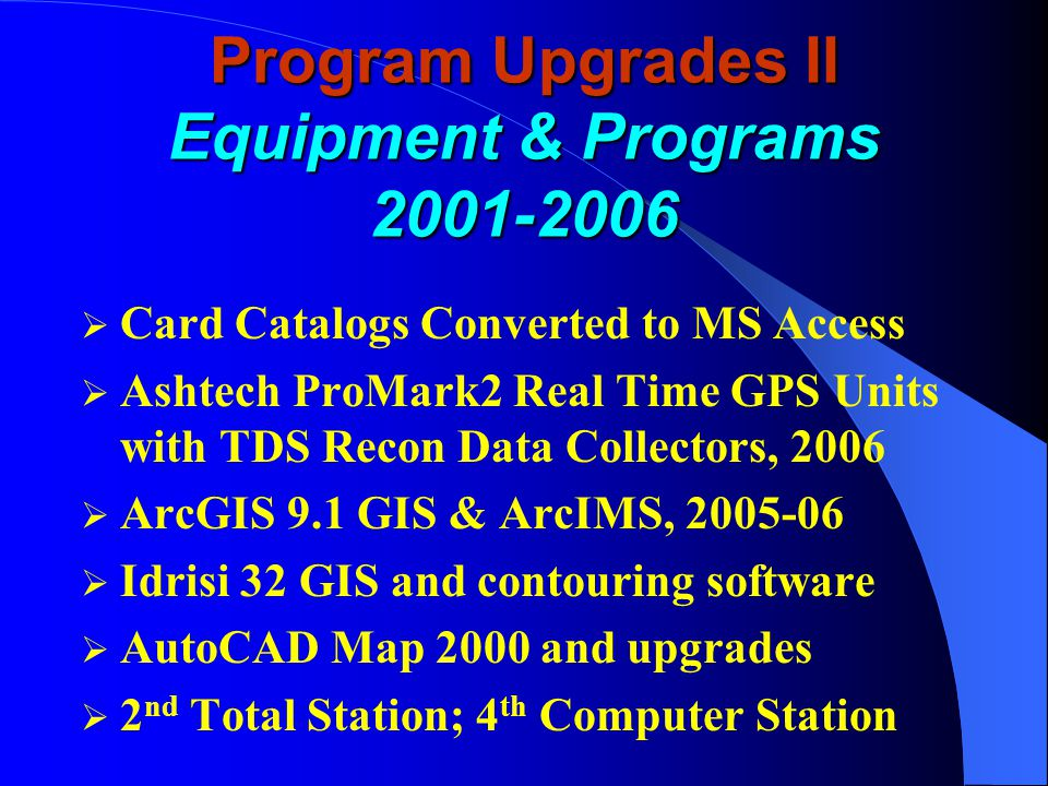 Program Upgrades I Equipment 1997-2000  Total station  Trimble GPS units and software  36 color map plotter and digitizer  ArcView GIS 3.2 and Auto CAD 2000  Digital scales and light table  Digital camera, scanner, & camcorder  10 tripod screens and field flotation device  200 topographic and historical maps