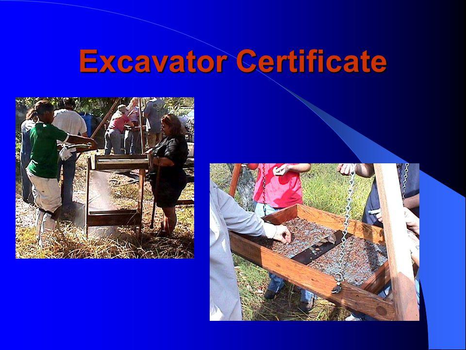 Excavator Certificate