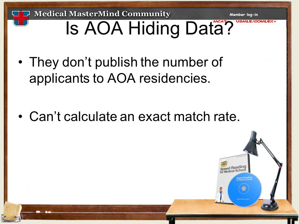 Is AOA Hiding Data. They don't publish the number of applicants to AOA residencies.