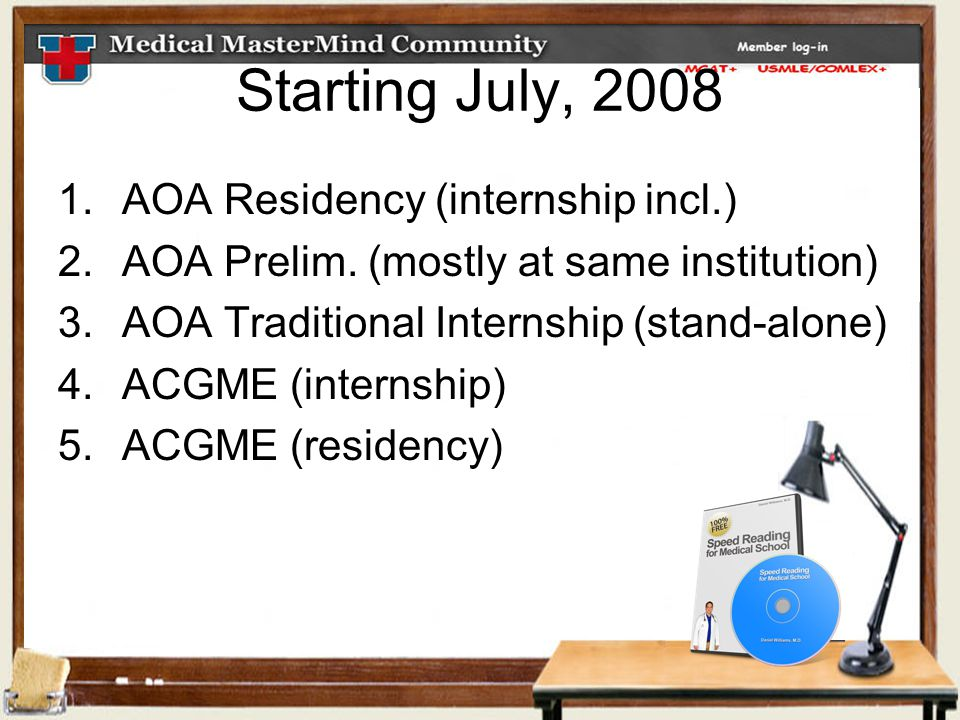 Starting July, 2008 1.AOA Residency (internship incl.) 2.AOA Prelim.