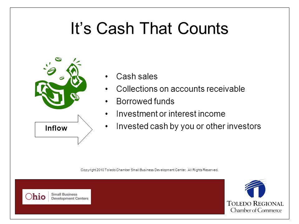 Cash sales Collections on accounts receivable Borrowed funds Investment or interest income Invested cash by you or other investors Inflow It's Cash That Counts Copyright 2010 Toledo Chamber Small Business Development Center.