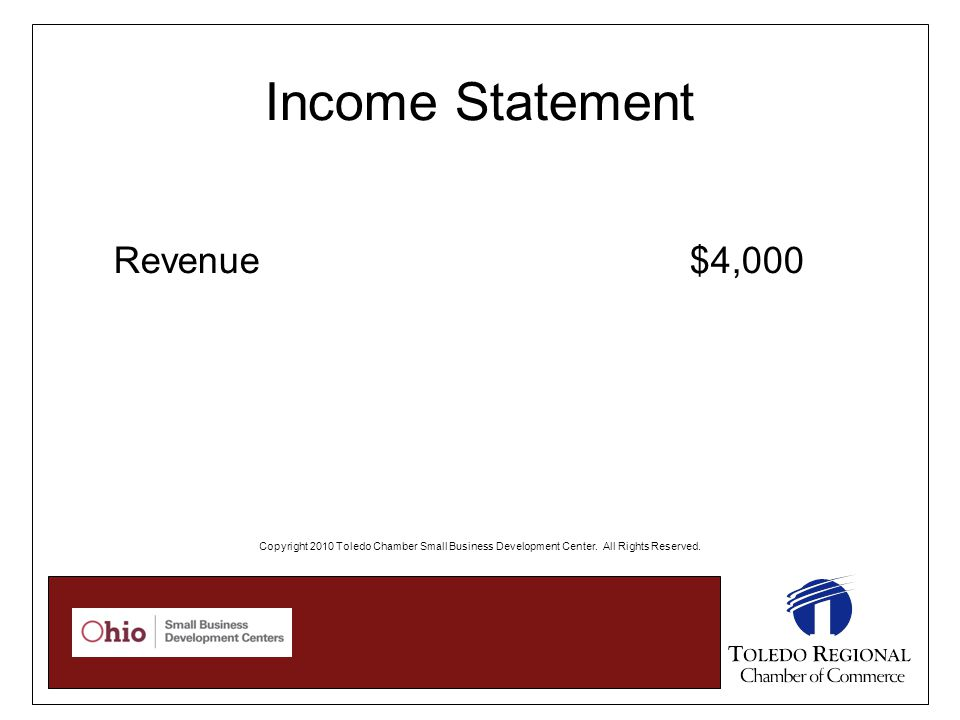 Income Statement Revenue $4,000 Copyright 2010 Toledo Chamber Small Business Development Center.