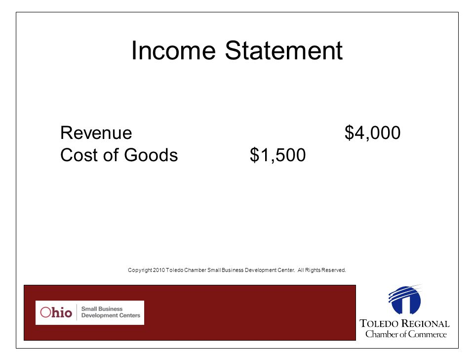Income Statement Revenue $4,000 Cost of Goods$1,500 Copyright 2010 Toledo Chamber Small Business Development Center.