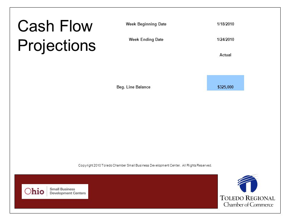 Cash Flow Projections Week Beginning Date1/18/2010 Week Ending Date1/24/2010 Actual Beg.