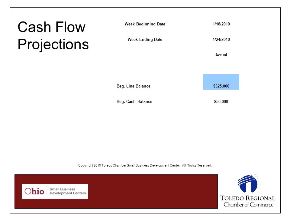 Cash Flow Projections Week Beginning Date1/18/2010 Week Ending Date1/24/2010 Actual Beg. Line Balance$325,000 Beg. Cash Balance$50,000 Copyright 2010