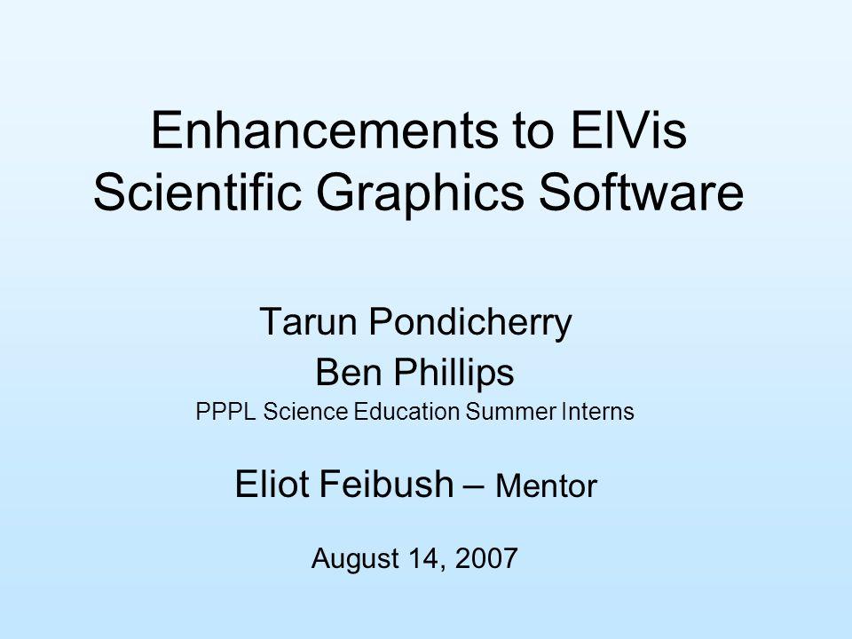 Enhancements to ElVis Scientific Graphics Software Tarun Pondicherry Ben Phillips PPPL Science Education Summer Interns Eliot Feibush – Mentor August 14, 2007