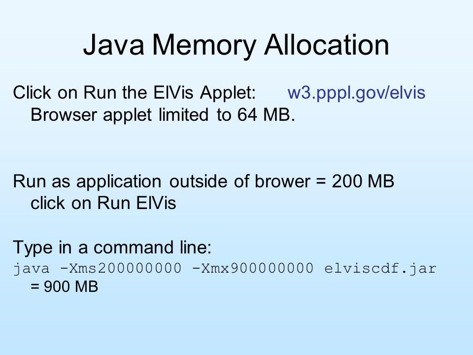 Java Memory Allocation Click on Run the ElVis Applet: w3.pppl.gov/elvis Browser applet limited to 64 MB.