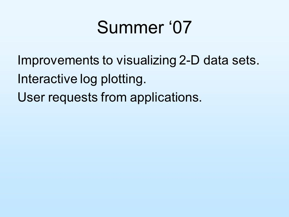 Summer '07 Improvements to visualizing 2-D data sets.