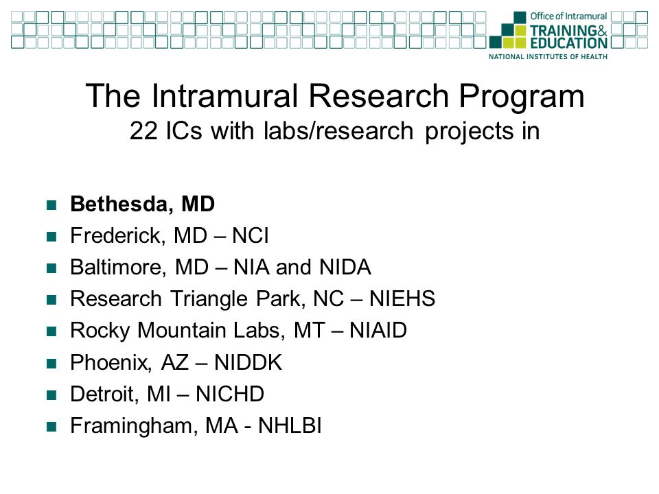 The Intramural Research Program 22 ICs with labs/research projects in Bethesda, MD Frederick, MD – NCI Baltimore, MD – NIA and NIDA Research Triangle