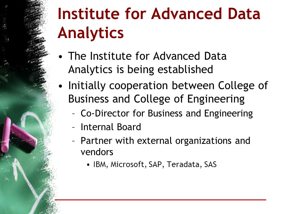 Institute for Advanced Data Analytics The Institute for Advanced Data Analytics is being established Initially cooperation between College of Business