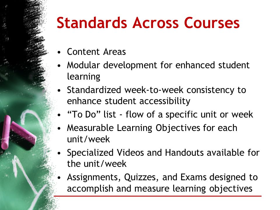 Standards Across Courses Content Areas Modular development for enhanced student learning Standardized week-to-week consistency to enhance student acce