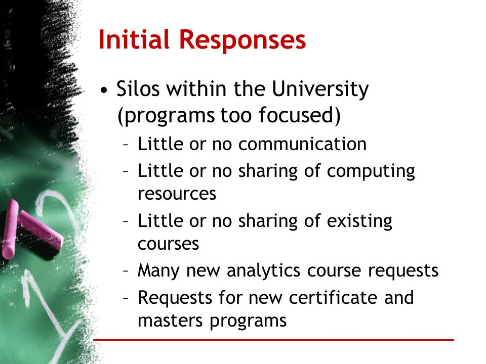 Initial Responses Silos within the University (programs too focused) –Little or no communication –Little or no sharing of computing resources –Little