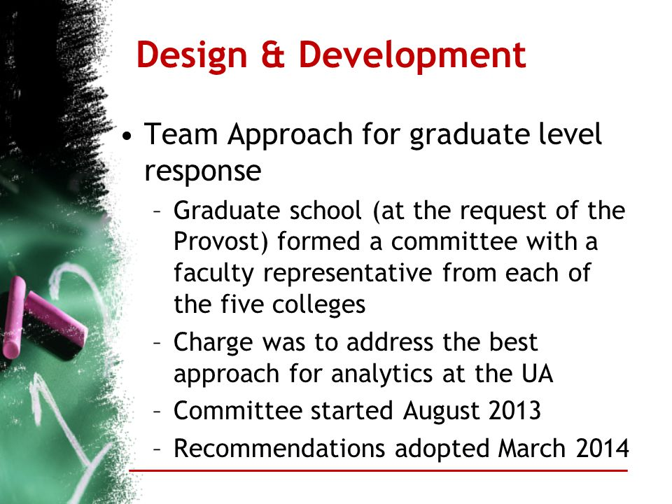 Design & Development Team Approach for graduate level response –Graduate school (at the request of the Provost) formed a committee with a faculty repr